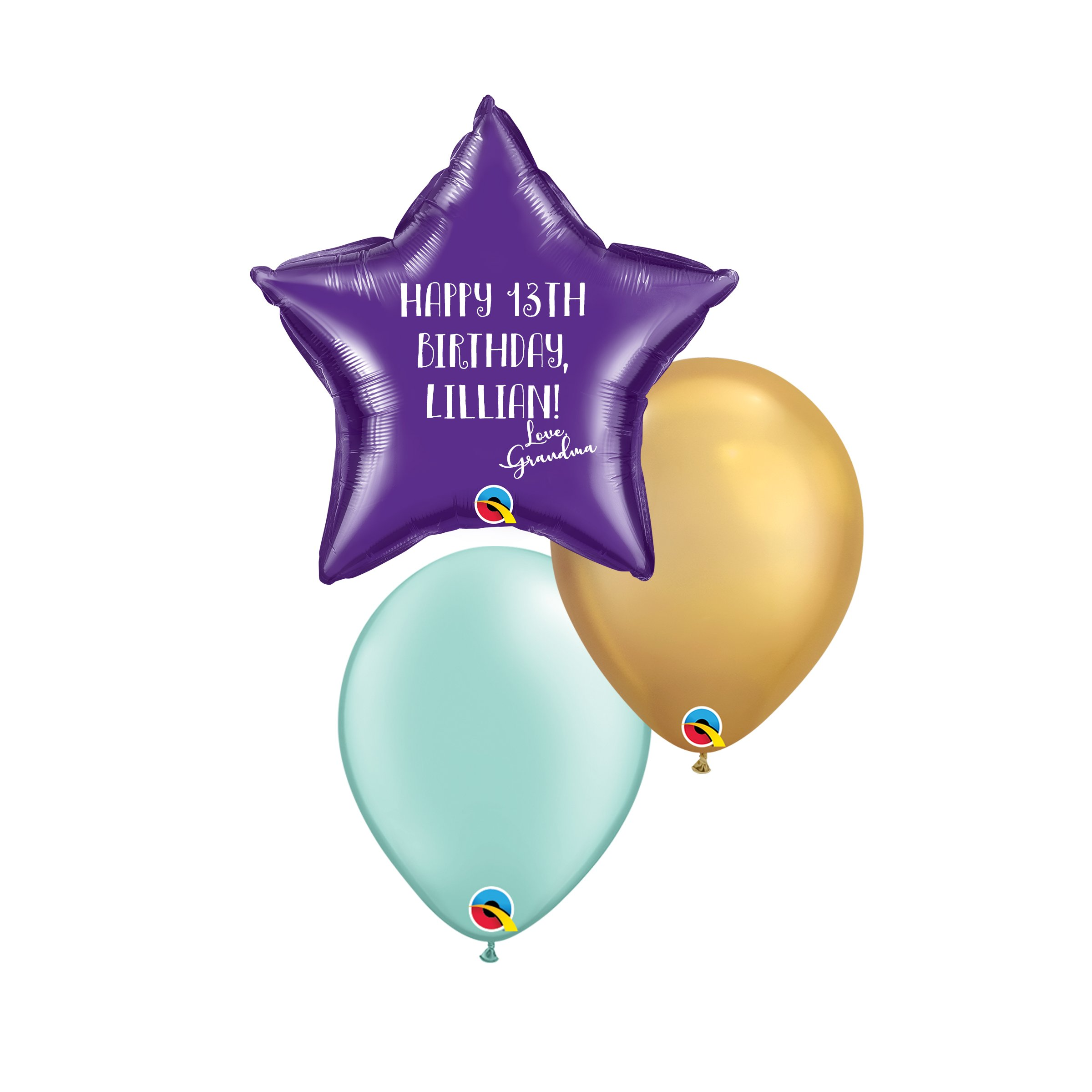 """Two 10"""" Latex & One 18"""" Foil Star/Shape Helium Balloons In Coordinating Colors With Personalized Vinyl Decal $20"""
