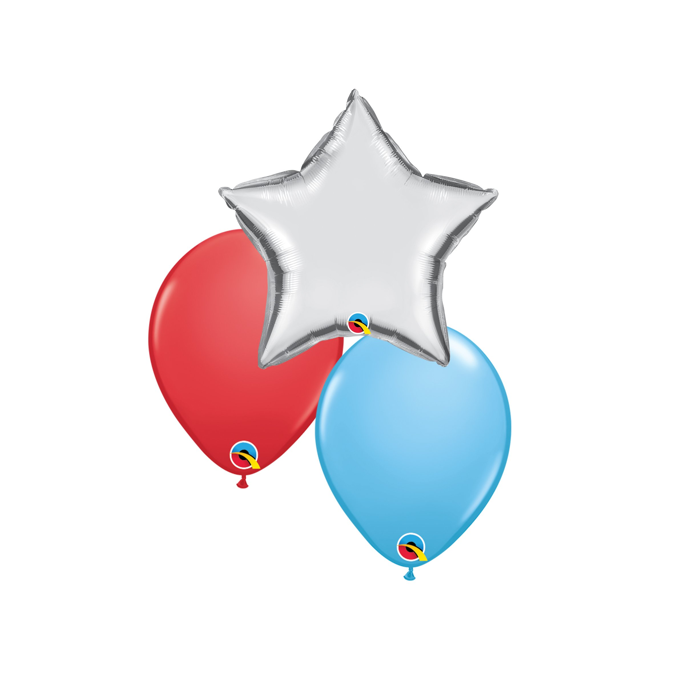 """Two 10"""" Latex & One 18"""" Foil Star/Shape Helium Balloons In Coordinating Colors $10"""