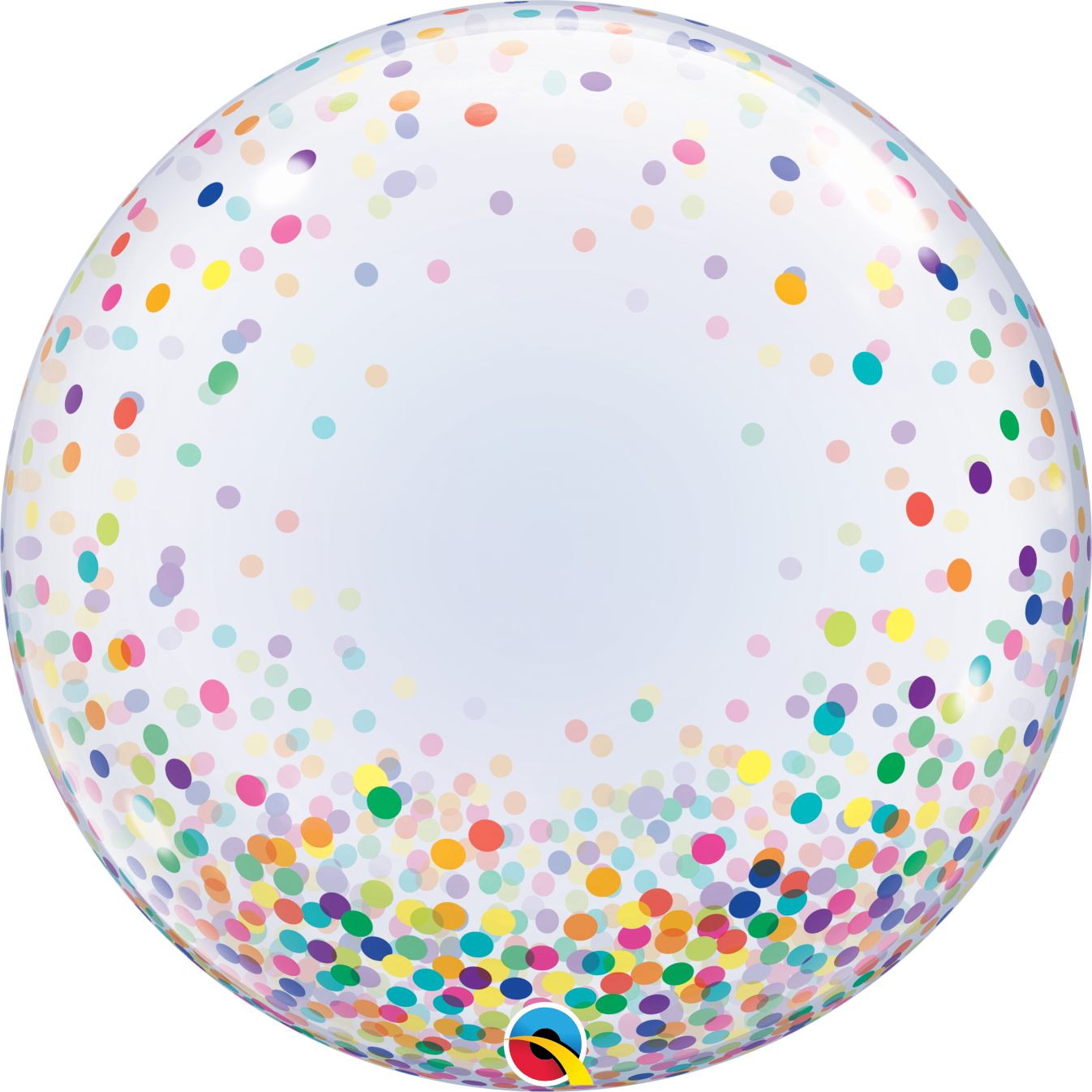 Crystal Clear w/ Colorful Confetti Dots