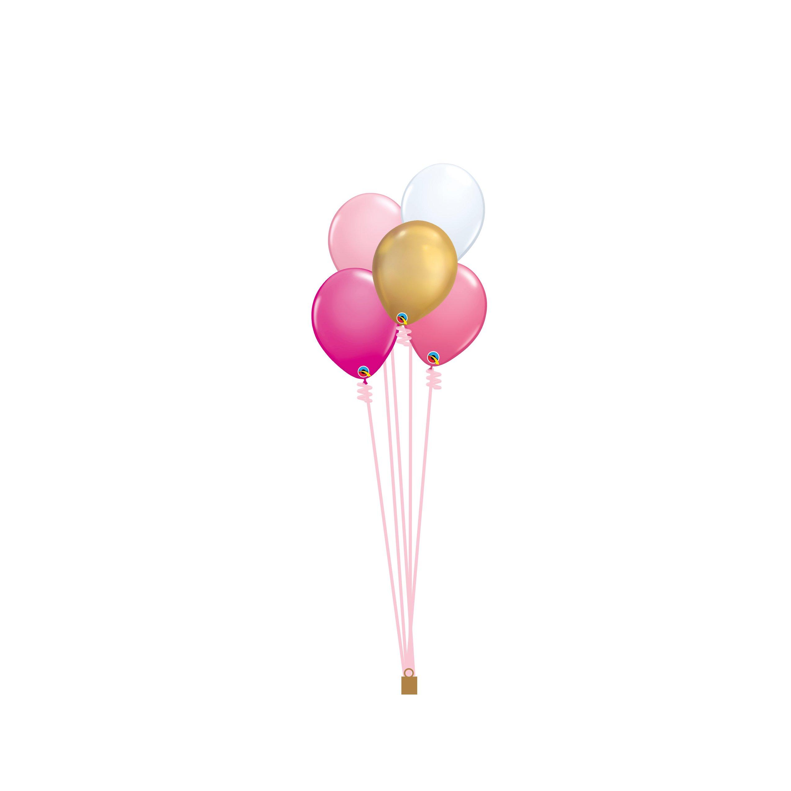 5 Coordinating Latex Helium Balloon Bouquet