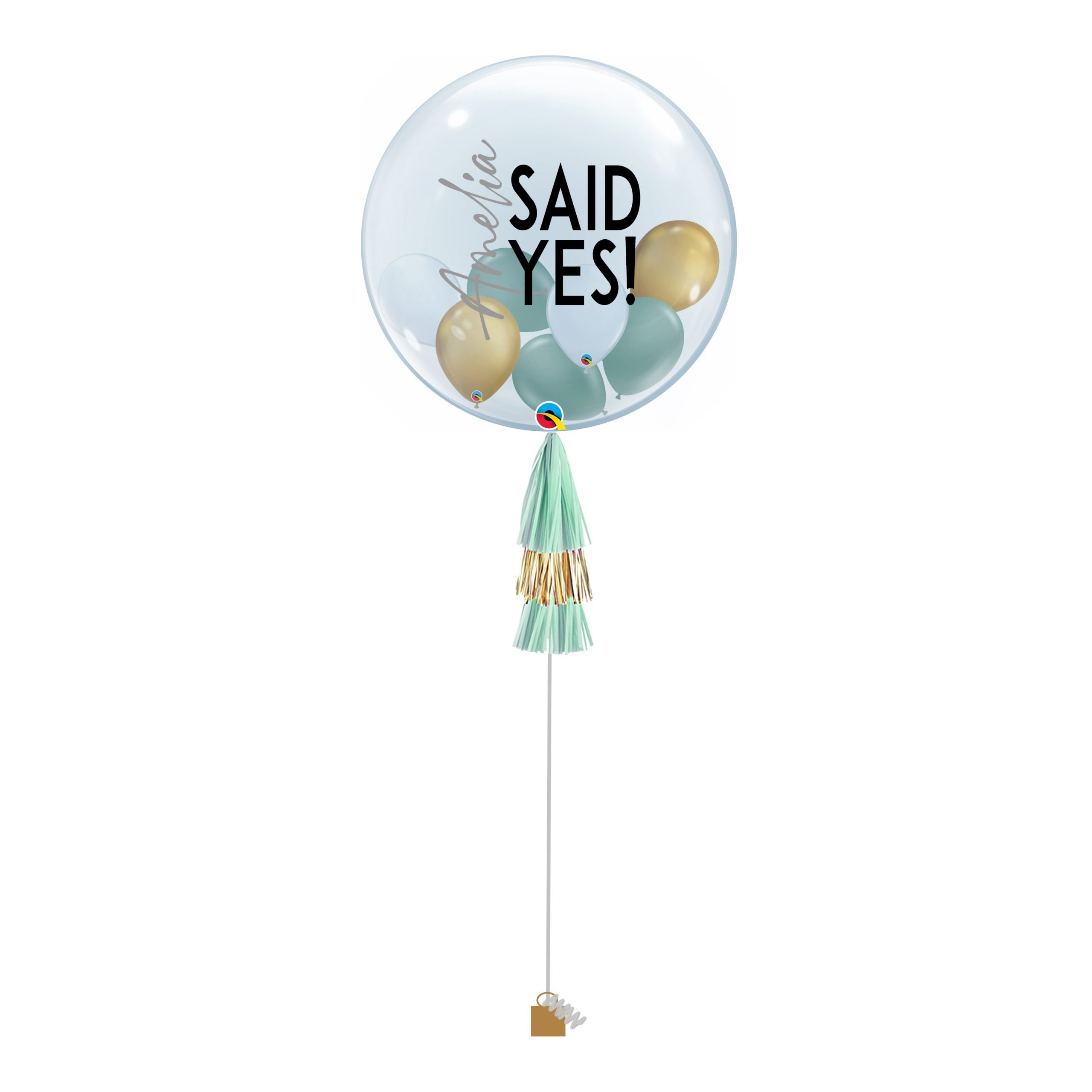 """Approx 20-22"""" Crystal Clear Bubble Balloon w/ Custom Vinyl Decal & Your Choice of Fill, Coordinating Tassel, & Simple Balloon Weight"""